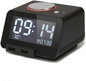 Hometime Multifunction Alarm Clock with Indoor Thermometer and Charging Station