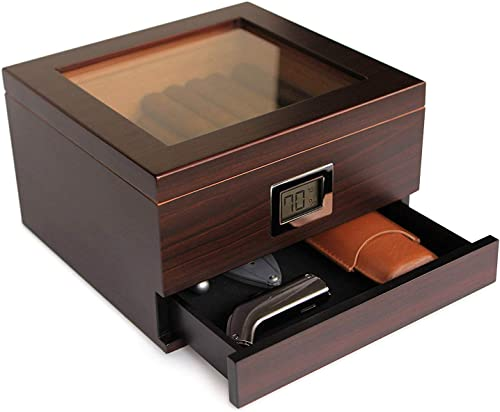 Case Elegance Handcrafted Glass Top Cedar Humidifier wit Hygrometer and Humidifier Gel