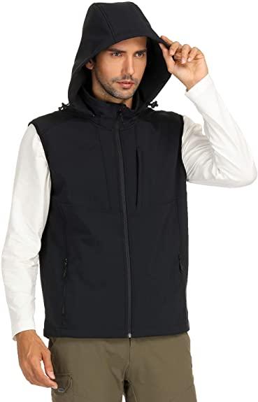 MIER Lightweight Vest Hood with 8 Pockets for Men